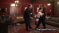 Bound redhead hard spanked by two doms