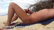 Nude beach wank for Sexy jogger