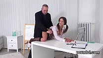 Lovely schoolgirl was tempted and banged by her elderly teacher