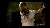 Blonde bitchy femdom humiliates & fucks slaveboy