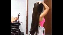 long hair play, bun drop, belly dance