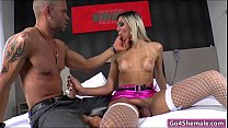 Shemale hottie Britney Colucci blows cock and is barebacked
