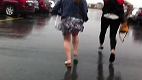 Short Skirt Coed Windy Day
