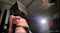 Tied up babe with head in steel box gets hard f...
