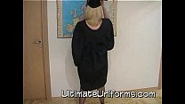 Big Tits Blonde In School Teacher Uniform With Stockings And Stiletto Heels