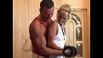 Blonde Girl Gets Bench Pressed Anally