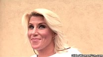 Blonde soccer milf gets facial