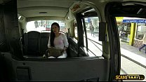 Exquisite brunette hot lady Sasha exchanges sex for taxicab toll