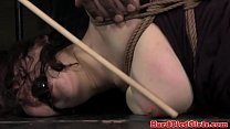 Hogtied sub pussy punished with object
