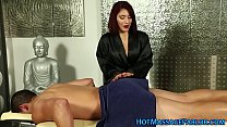 Buxom latin masseuse tugs