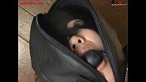 ballgagged asian slut tied into a leather sleep…