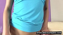 Sexy blonde bends over and teases while peeing
