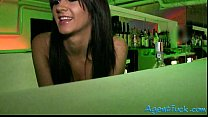 Slutty amateur Nia twat fucked in the bar for a lot of cash
