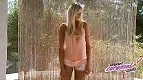 Exotic blond teasing in silky panties