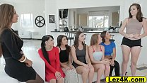 Delicate doll teens taking the opportunity with lesbian agency owner