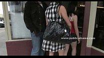 Slut at barber shop in public group sex