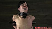 Tied up petite sub punished with cane