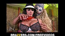 Big tit Latina has her thick tits oiled up and ...