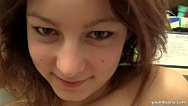 Young Nanny gives handjob and gets big hooters jizzed