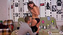 Teen Evelina gets nailed on the couch