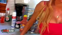 Hot blonde fucked in the kitchen the very hard way