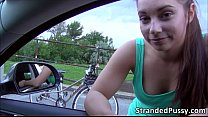 Horny Jenny gets fucked on the roadside by big dick dude