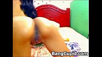 Latina fingering and spearing her pink ass and ...