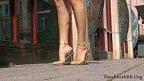 Golden stiletto sandals