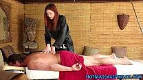 Redhead masseuse stroking