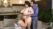 2 busty bbws give latino stud a double blowjob