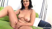 Liana enjoys her big black dildo