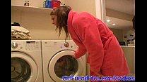 Amateur teen masturbates on washing machine