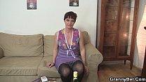 Old grandma spreads legs for fresh cock