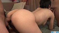 Peachy tits wife Sakura Aida endures sex with t...