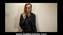 Rock chick in leather pants and leather biker j...