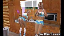 Two foxy 3D cartoon blonde vixens get double teamed