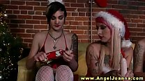Angel Joanna gives dildos for xmas