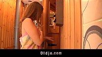 sauna... the in girl teeny by seduced man old Grey