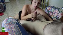 My girlfirend suck my dick and pushing my penis so well that I cum