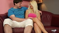 Sexy blonde party girl bangs a wierdo in all po...