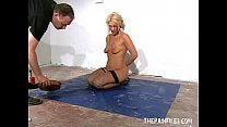 Bizarre worms humiliation and filthy mess degradation of blonde slaveslut