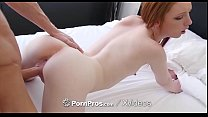 PornPros Under the table blowjob turns into fuck with ginger Katy Kiss