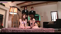 Asian cuties sharing dildos and cocks in grou