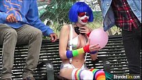 Teen Mikayla the clown shows stranger her pierc...