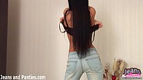 Milana trying on a hot new pair of skinny jeans