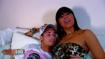 Huge tits latina bitch fucked on couch and havi...
