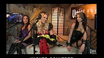 Three horny sluts dress up in costumes for a Ha...