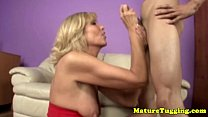 cock his wanking mom cougar Blondge