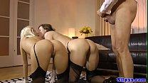 Euro teen shares oldman dick in threeway