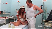 Gynecologist and his nurse drinking each others hot piss